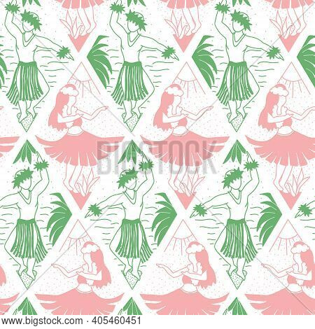 Seamless Vector Hawaii Pattern. Summer Background With Dancing Girls And Men In Geometric Line Art R