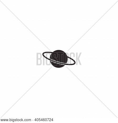 Planet Saturn Or Jupiter. Black Icon Isolated On White. Cosmos, Universe, Space Sign. Science, Syste