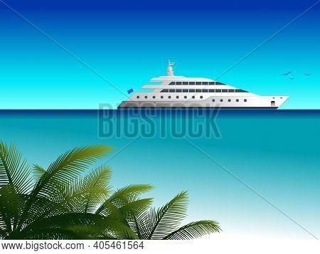 Motor Yacht Sailing At Sea. Motor Yacht Sailing Out On Tropical Sea. Vector Illustration.