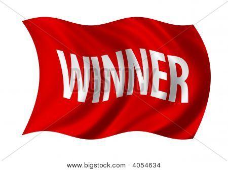 Winner Flag Billowing In The Wind
