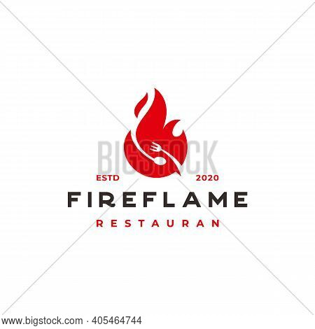 Fire Flame With Spoon And Fork For Food Restaurant Logo Designs