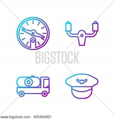 Set Line Pilot Hat, Fuel Tanker Truck, Compass And Aircraft Steering Helm. Gradient Color Icons. Vec