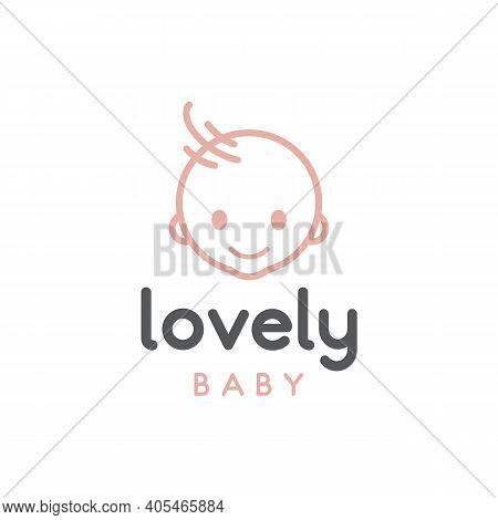 Happy Baby Toddler Babies Outline Vector Logo Design