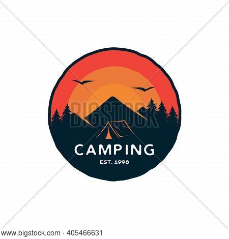 Vintage Retro Forest Camping Logo Emblem Badge Summer Camping Vector Illustration With Tent And Pine