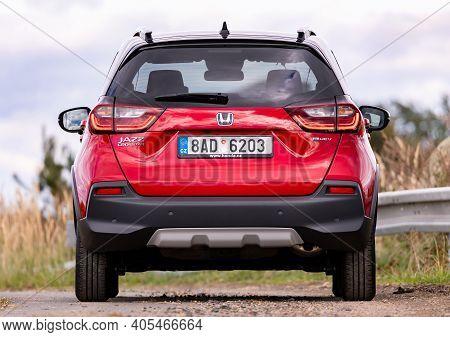 Prague, Czech Republic - October 6, 2020: Red Honda Jazz Crosstar Near Prague, Czech Republic, Octob