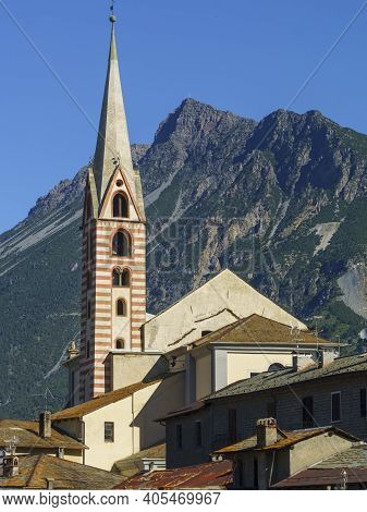 Bormio, Sondrio Province, Lombardy, Italy: Exterior Of Old Typical Buildings
