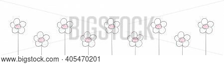 Flowers Background. Flowers For Banners, Posters Or Web. Flowers Pattern. Hand Drawn Flowers. Minima