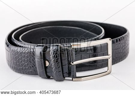 Leather Belt For Men, Black Leather Belt On White Background, Elegant Leather Belt.