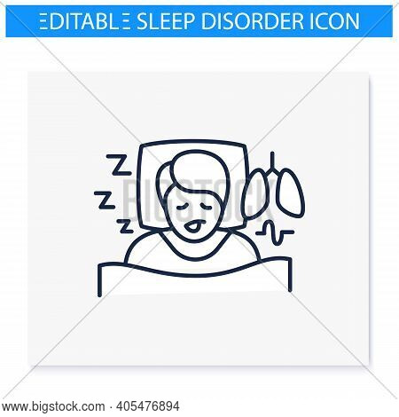 Sleep Study Line Icon. Unusual Breathing Patterns. Sleep Disorder. Healthy Sleeping Concept.sleep Pr