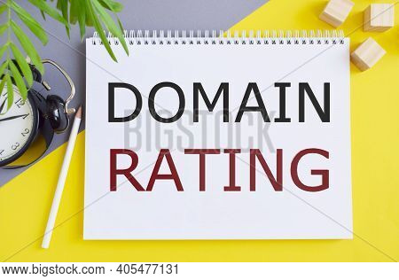 Domain Rating Business Seo Concept Text On A White Notebook, Green Flower And Yellow Background.