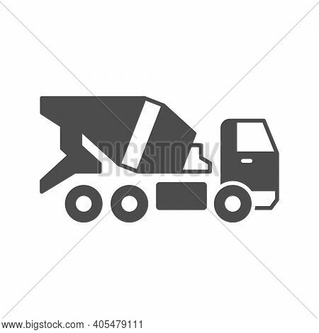 Concrete Mixer Truck Glyph Icon Isolated On White. Vector Illustration