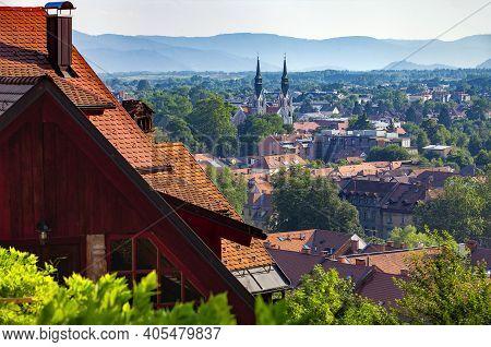 Slovenia, Ljubljana - June 20, 2013: View  Of Ljubljana From Castle Hill To Parish Church Of John Th