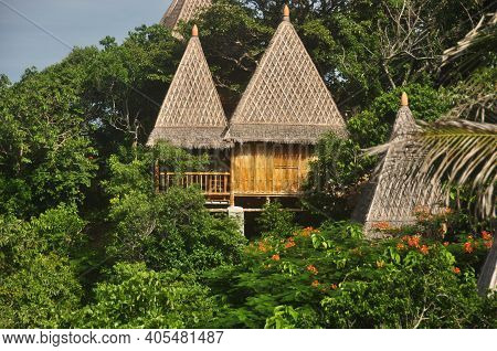 View Of Wooden Houses With Conic Thatched Roofs In Bright Green Tropical Vegetation. Thatched Houses