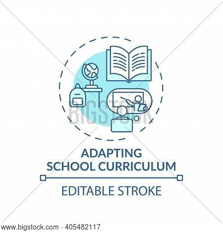 Adapting School Curriculum Concept Icon. Online Teaching Tips. Dynamic Process Modifies Program Of L