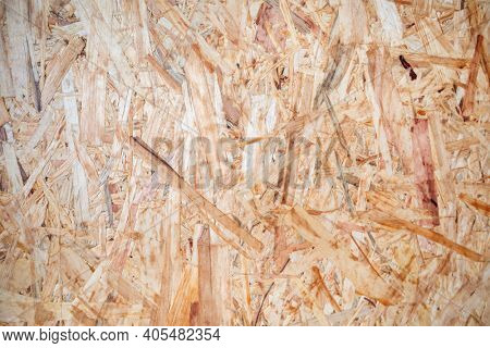 OSB sheet is made of brown wood chips