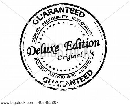 Rubber Stamp With Text Deluxe Edition Inside, Vector Illustration