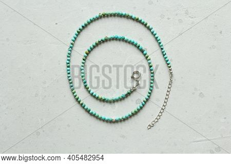 Short Necklace Made Of Turquoise Natural Stone Beads. Necklace Made Of Stones On Hand From Natural S