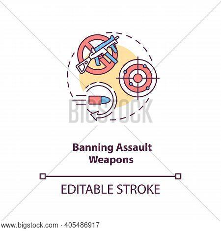Ban Assault Weapons Concept Icon. Firearm Regulation For Caution. Violent Crime Prevention. Gun Cont