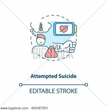 Attempted Suicide Concept Icon. Psychological Trauma, Suffering. Self Inflicted Harm. Mental Health