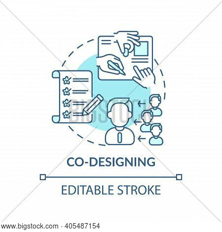 Co-designing Concept Icon. Co Creation Type Idea Thin Line Illustration. Intensive Ideation And Desi