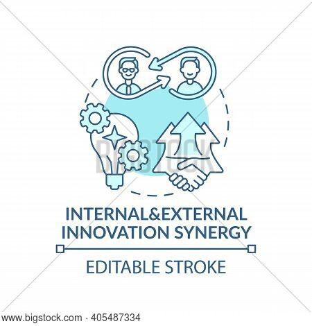 Internal, External Innovation Synergy Concept Icon. Open Innovation Idea Thin Line Illustration. Foc