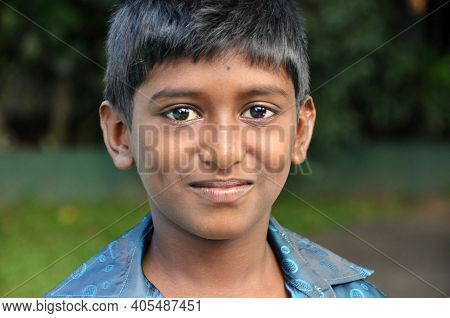 Kandy, Sri Lanka - 17th Dec, 2011: Young Smiling Ethnic Boy Looking At Camera, Portrait Of Young Smi
