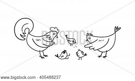 A Hand-drawn Rooster And A Hen Surrounded The Little Chickens. Doodle Poultry Raise Their Frolicking