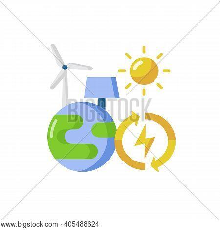 Renewable Energy Vector Flat Color Icon. Alternative Power Generation. Environment Protection. Susta