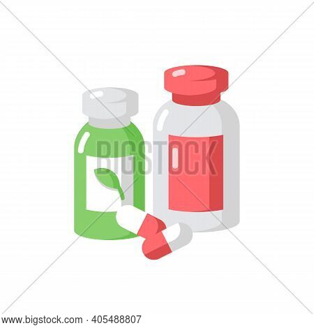 Pharmacy Vector Flat Color Icon. Pills In Containers. Herbal Drugs. Health Care. Diet Supplements. P