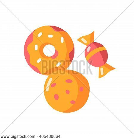 Cookie And Candy Vector Flat Color Icon. Sweets Products. Donut With Icing. Bakery Goods. Treats, De
