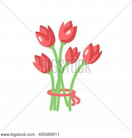 Flowers Vector Flat Color Icon. Bouquet For Romantic Present. Blooming Tulips. Flourishing Blossom.