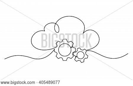 Cloud Technology Sign. Clods With Gears. Continuous One Line Drawing.