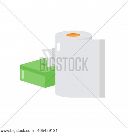 Paper Products Vector Flat Color Icon. Disposable Tissues. Toiletries And Tablecloth. Supplies For C