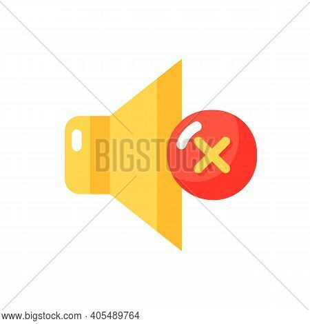Silent Mode Setting Vector Flat Color Icon. Sounds Control. Silent Smartphone Notifications. Rington