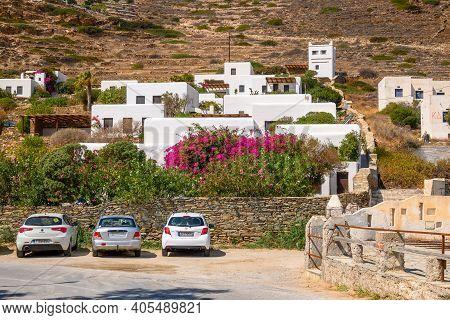Ios, Greece - September 22, 2020: Summer Villas On The Hill Next To The Gialos Beach On The Island O
