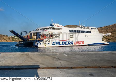 Ios, Greece - September 22, 2020: Caldera Vista, High Speed Craft Owned By Seajets At Port Of Ios. C