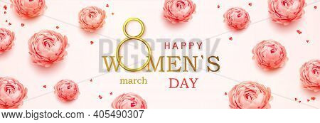 Happy Womens Day Horizontal Banner With Calligraphy Text And With Pink Peonies Flowers Background. P