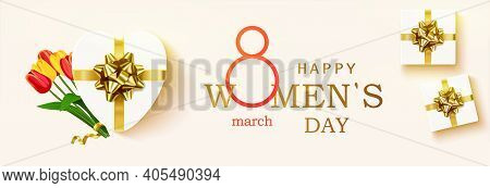 Happy Womens Day Horizontal Banner For The Website. Postcard On March 8. Romantic Background With Re