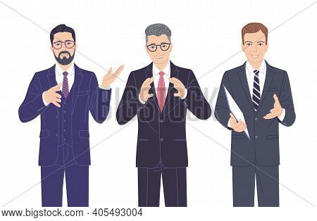 Confident Speaking Men In Strict Clothes Isolated On White. Friendly Business Men In Formal Suits, S