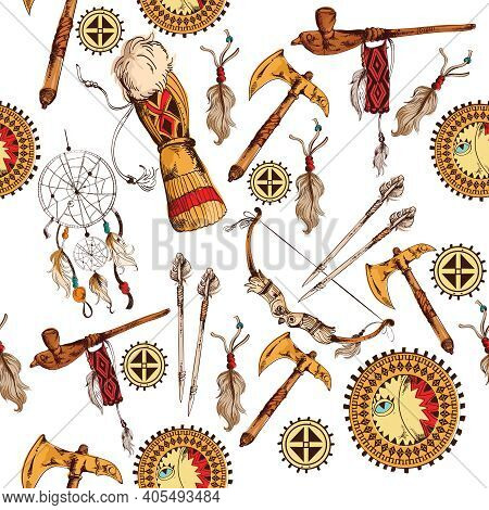 Ethnic Native American Indian Tribes Hand Drawn Seamless Colored Background Vector Illustration