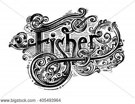 Fisher Logo. Black And White Illustration. Vector Image.