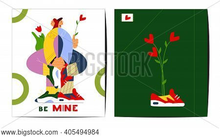 Creative Saint Valentine's Day Greeting Cards Set. Flat Vector Design. Couple In Love Holding Hands.