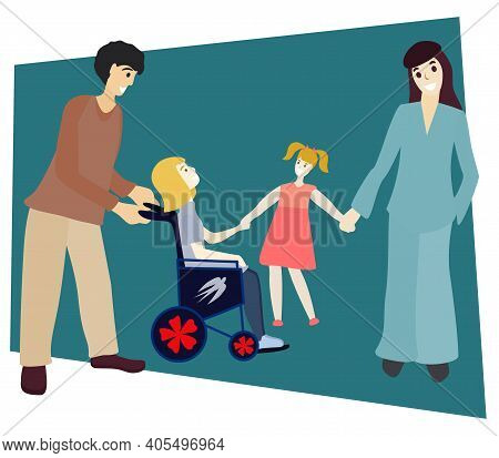 Happy Family Walk Together. Parents And Their Daughters. Limited Abilities Girl. Diverse Families Co
