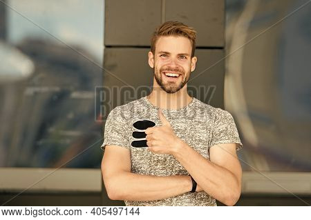 I Like It. Happy Man Gesturing Like In Casual Style. Handsome Man Smiling And Giving Like Hand Gestu