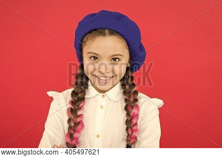 Do You Speak French. Fancy Style. Little Girl With Braids Ready For School. School Fashion Concept.