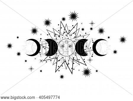 Triple Moon, Pagan Wiccan Goddess Symbol, Sun System, Moon Phases, Orbits Of Planets, Energy Circle.