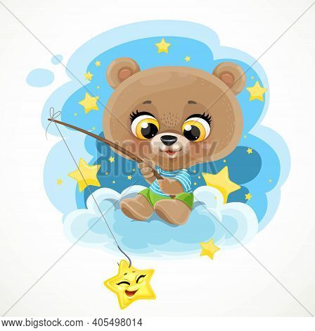 Cute Cartoon Baby Bear Sitting On Cloud With A Fishing Rod Catches Stars Against Background Of The N