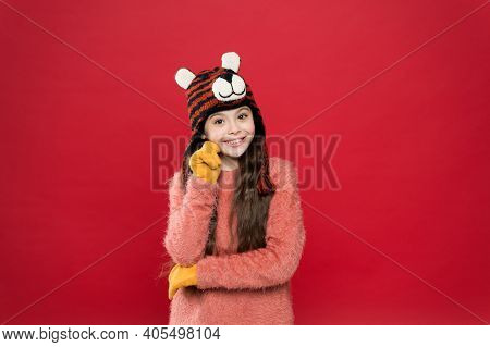 Fun And Joy. Festive Spirit. Cheerful Smiling Kid. Playful Cutie. Winter Care For Long Hair. Cute Ac