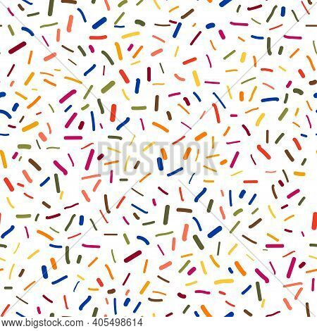 Scribbles Pattern With Acrylic Brush Strokes And Dots. Vector Abstract Background. For Your Trendy D