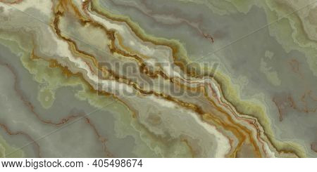Onyx Tile With Green And Orange Weaves. Background Texture For Design. 2d Illustration